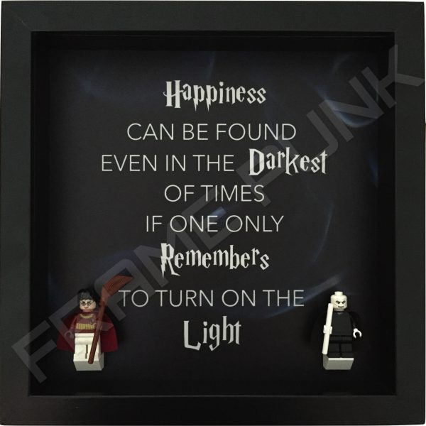 Harry Potter Dumbledore quote lego minifigure display frame with minifigures 2