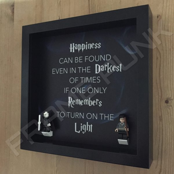 Harry Potter Dumbledore quote lego minifigure display frame with minifigures side view