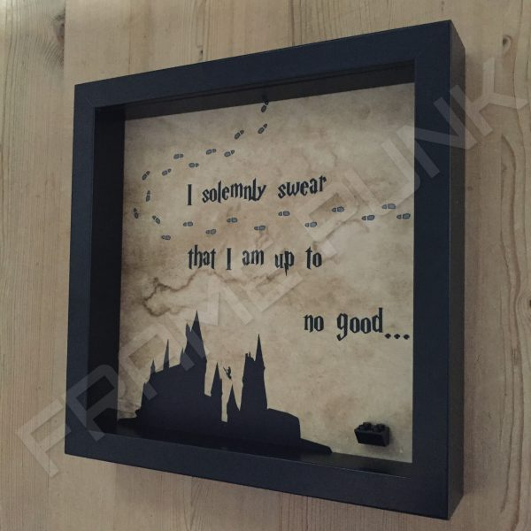 Harry Potter I solemnly swear quote lego minifigure display frame side view