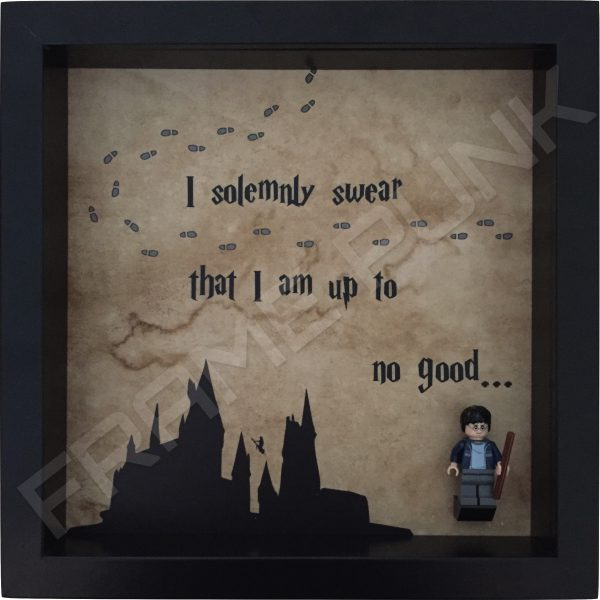 Harry Potter I solemnly swear quote lego minifigure display frame with lego minifigure