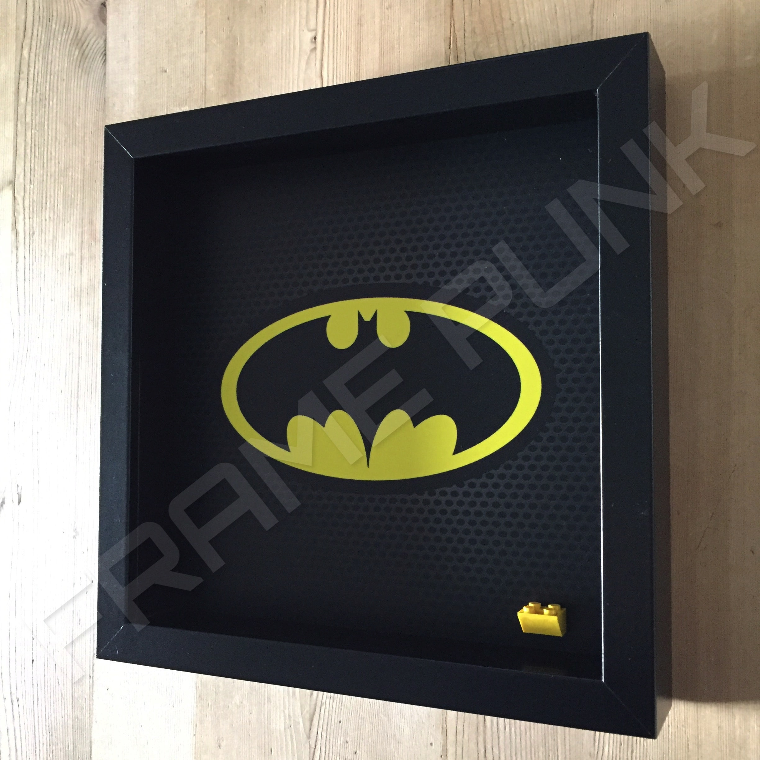 classic lego batman minifigure display frame side view