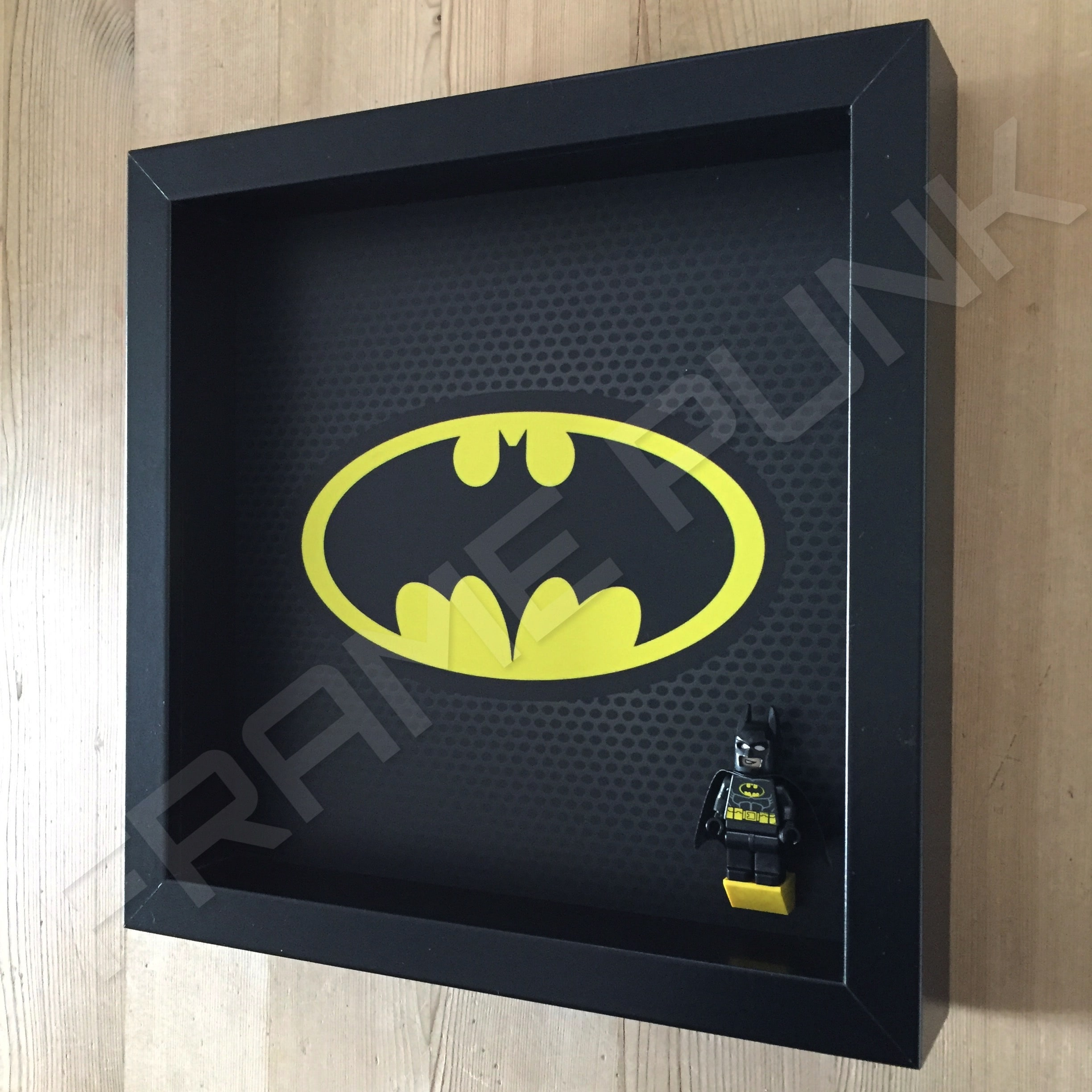 classic lego batman minifigure display frame with minifigure side view
