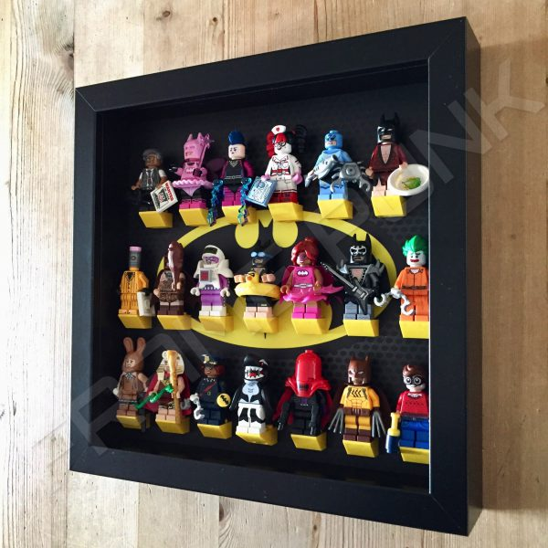 Classic LEGO Batman Movie Minifigures Series display frame with minifigures (Black) Side View