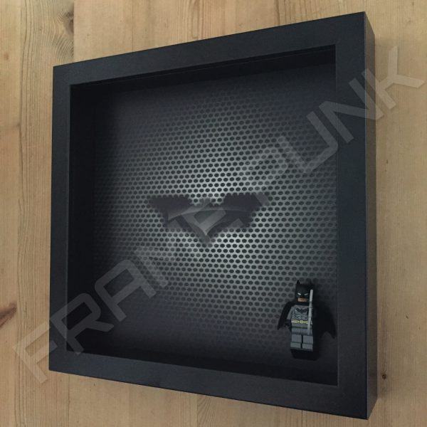 Contemporary LEGO Batman Minifigure display frame with minifigure Side View
