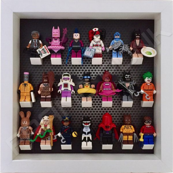 Contemporary LEGO Batman Movie Minifigures Series display frame with minifigures (White)
