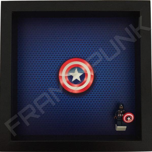 LEGO Captain America Minifigure display frame with minifigure