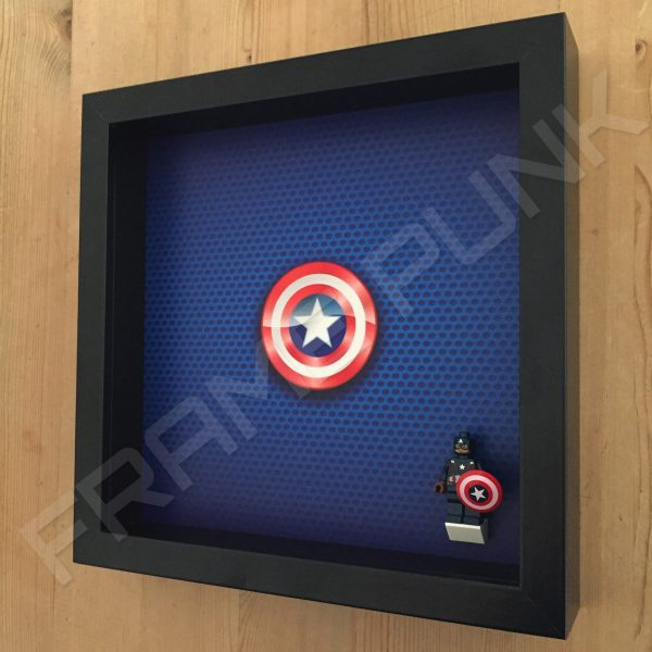 LEGO Captain America Minifigure display frame with minifigure Side View