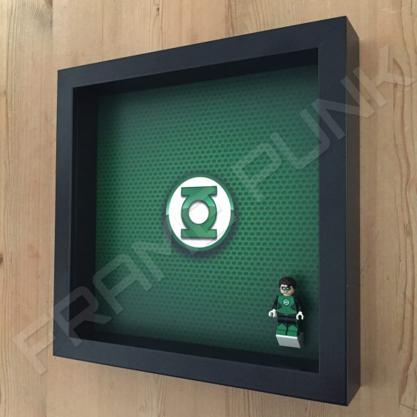 LEGO Green Lantern Minifigure display frame with minifigure Side View