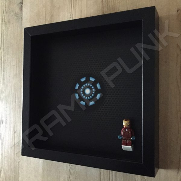 LEGO Iron Man Minifigure display frame with minifigure Side View