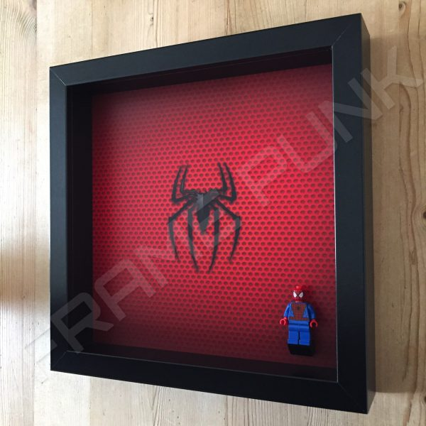 LEGO Spider-Man Minifigure display frame with minifigure Side View