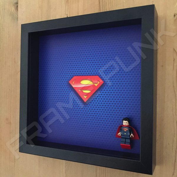 LEGO Superman Minifigure display frame with minifigure Side View