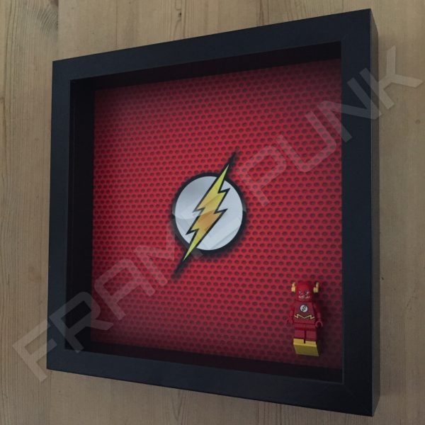 LEGO The Flash Minifigure display frame with minifigure Side View