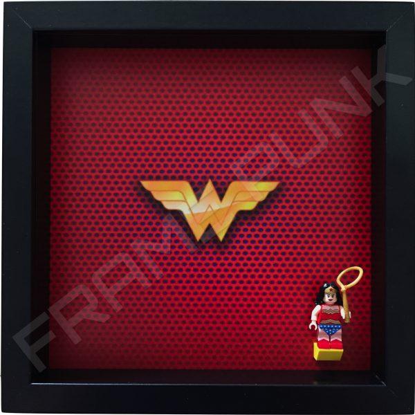 LEGO Wonder Woman Minifigure display frame with classic minifigure