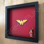 LEGO Wonder Woman Minifigure display frame with classic minifigure Side View