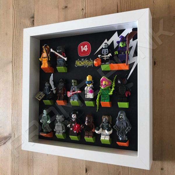 Lego minifigures series 14 display frame with minifigures Side view
