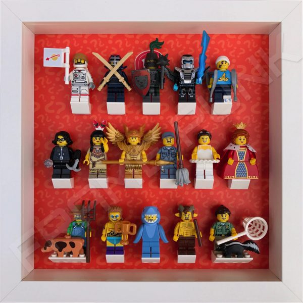 Lego minifigures series 15 display frame with complete set