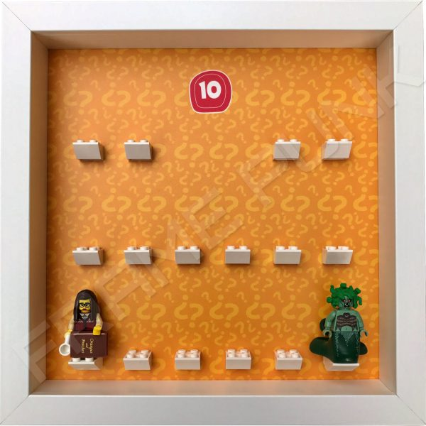 Lego minifigures series 10 display frame showing how the Librarian and Medusa minifigures fit within