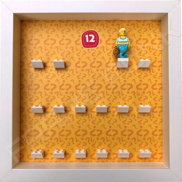 Lego minifigures series 12 display frame showing how the Genie Girl minifigure sits within