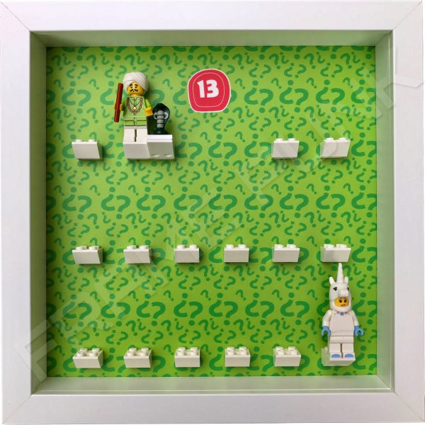 Lego minifigures series 13 display frame showing how the Snake Charmer and Unicorn Girl minifigures sit within