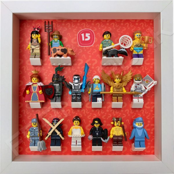Lego minifigures series 15 display frame with minifigures