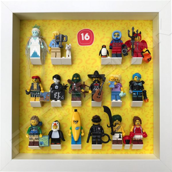 Lego minifigures series 16 display frame with minifigures