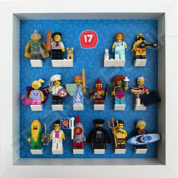 Lego minifigures series 17 display frame with minifigures
