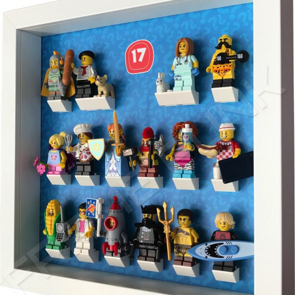 Lego minifigures series 17 display frame with minifigures Side View