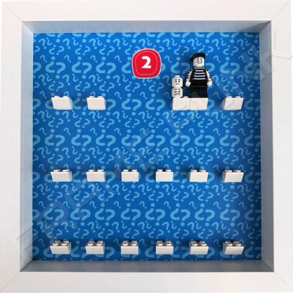 Lego minifigures series 2 display frame showing how the Mime minifigure sits within