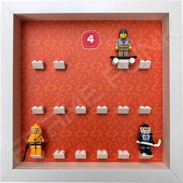 Lego minifigures series 4 display frame showing how the Hazmat Guy, Street Skater and Hockey Player minifigures fit within