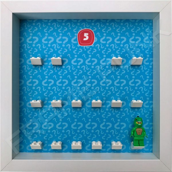 Lego minifigures series 5 display frame showing how the Lizard Man minifigure fits within