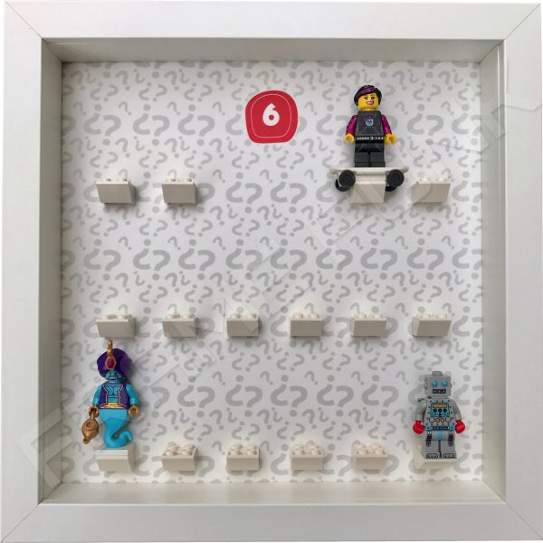 Lego minifigures series 6 display frame showing how the Genie, Skater Girl and Clockwork Robot minifigures fit within