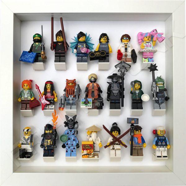 LEGO Ninjago Movie Minifigures Series display frame (All White) with minifigures