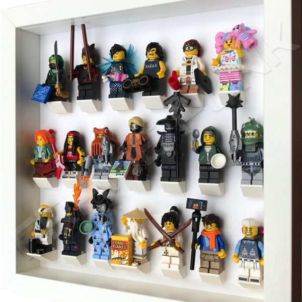 LEGO Ninjago Movie Minifigures Series display frame (All White) with minifigures Side View