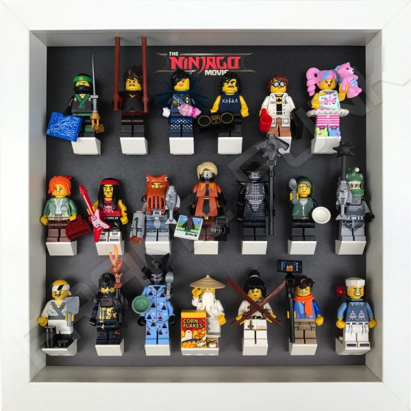 LEGO Ninjago Movie Minifigures Series display frame (black fade) with minifigures