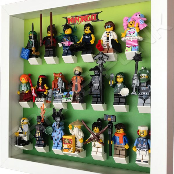 LEGO Ninjago Movie Minifigures Series display frame (green fade) with minifigures Side View