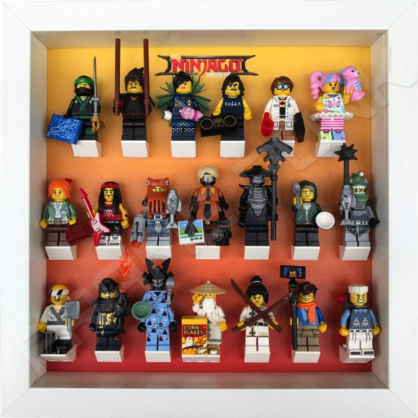 LEGO Ninjago Movie Minifigures Series display frame (orange fade) with minifigures