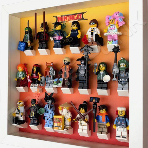 LEGO Ninjago Movie Minifigures Series display frame (orange fade) with minifigures Side View