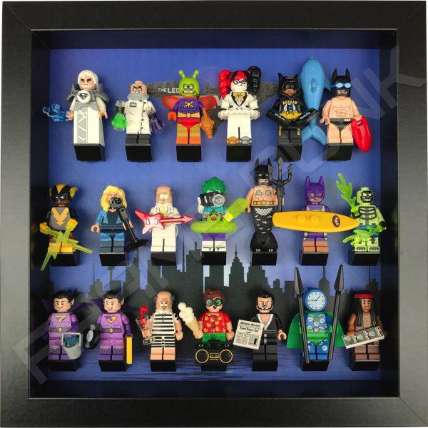 LEGO Batman Movie Series display with minifigures (City black frame)