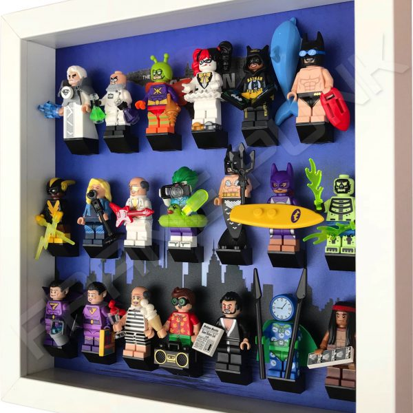 LEGO Batman Movie Series display with minifigures (City white frame) Side View
