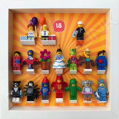 Lego minifigures series 18 display frame with minifigures