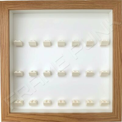 FRAMEPUNK white background and mounts display frame compatible with 21 Lego minifigures (Oak)
