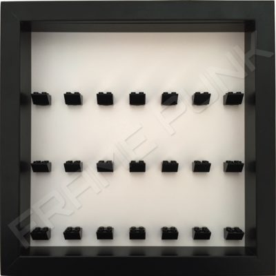 Frame Punk 7x7x7 formation minifigure display frame - white background with black bricks and black frame