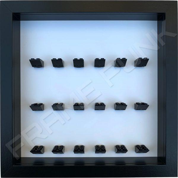 FRAMEPUNK minifigures display frame 18 2x3 mounts (black frame and black bricks)