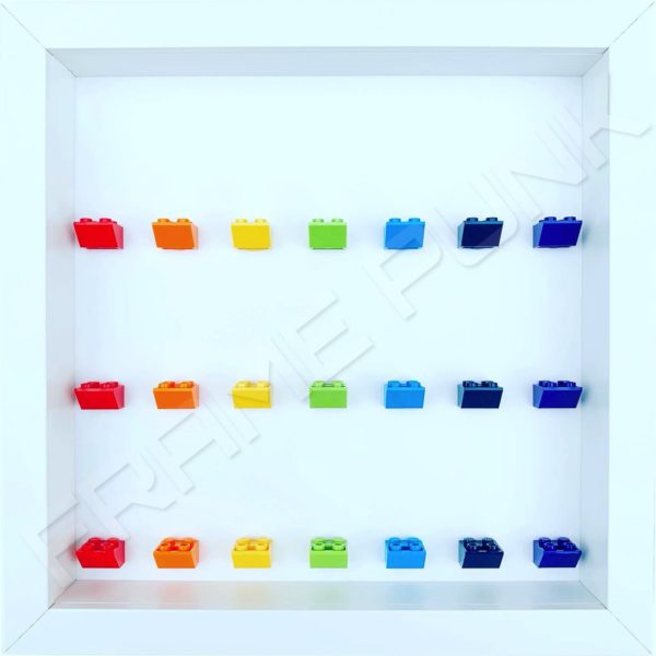 Frame Punk Rainbow display frame for 21 minifigures (white frame)