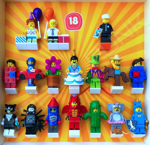 FRAMEPUNK display showing Lego Minifigures Series 18