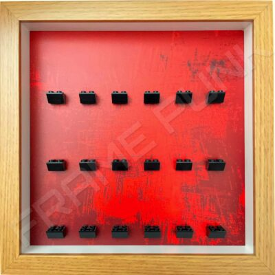 FRAMEPUNK dramatic red background and black mounts display frame compatible with 18 Lego minifigures (Oak)